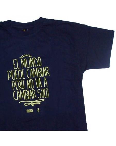 Camiseta unisex Cambia el mundo azul