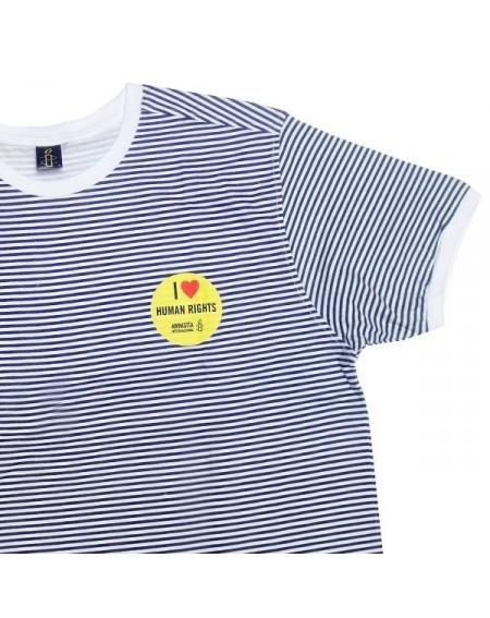 Camiseta rayas marino I love Human Rights