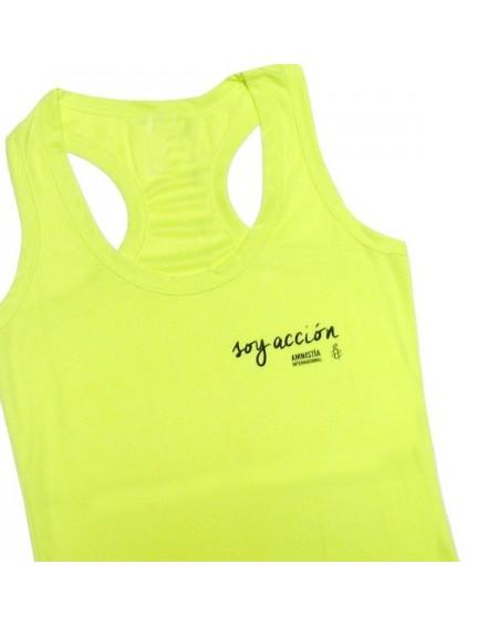 Camiseta running mujer Soy Acción amarilla