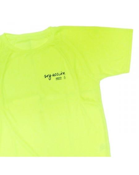 Camiseta técnica unisex Soy Acción amarilla