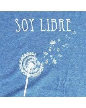 Camiseta mujer Soy libre cuello V azul