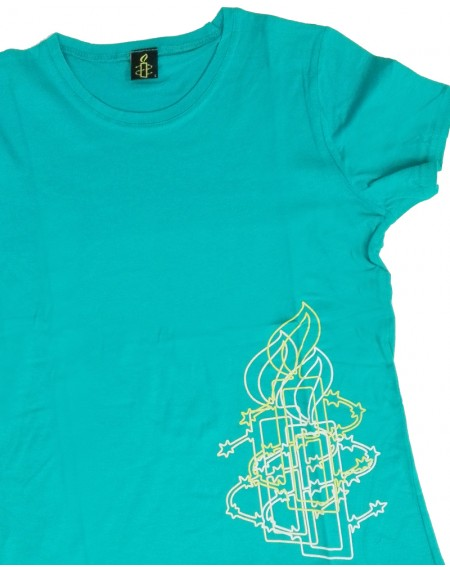 Camiseta vela Amnistía Internacional mujer color turquesa