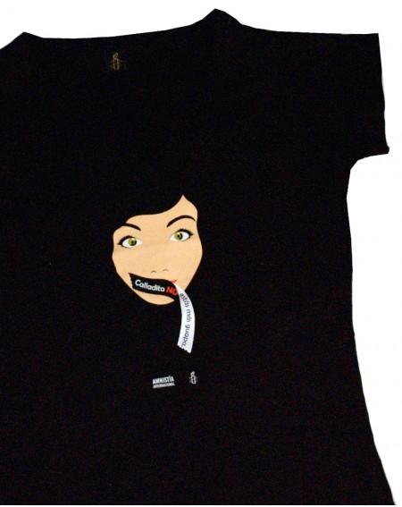 Camiseta feminista cuello pico Calladita No estás más guapa Amnistía Internacional