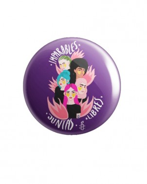 Chapa morada feminista 8 de marzo de Amnistía internacional