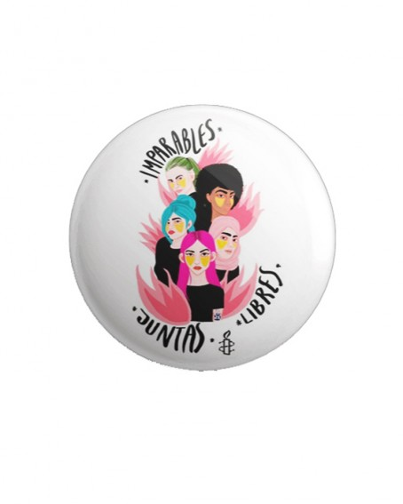 Chapas feministas para le 8 de marzo de Amnistía Internacional blancas
