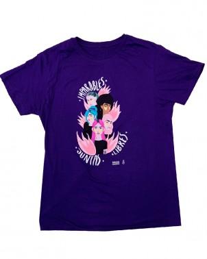 Camiseta feminista morada Juntas Libres e imparables Amnistía Internacional