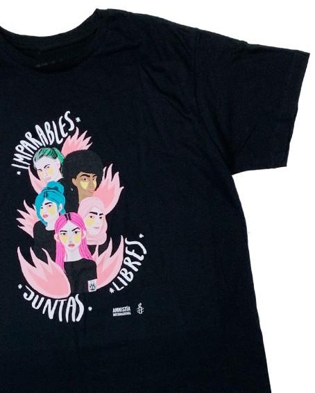 Camiseta feminista para hombre Juntas, Libres e Imparables Amnistía Internacional