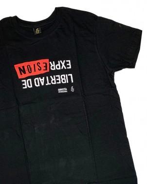 Camiseta con mensaje libertad de expresión Amnistía Internacional