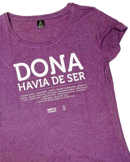 Samarreta feminista en català Dona havia de ser Amnistia Internacional