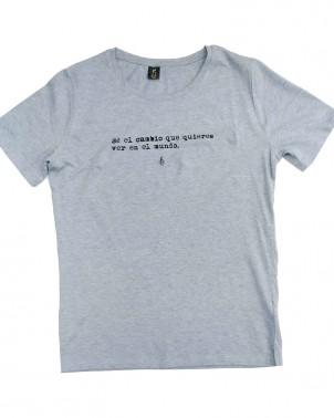 camiseta jaspeada azul de algodón orgánico