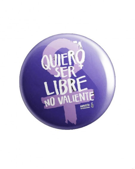 Chapa feminista morada Quiero ser Libre Amnistía Internacional