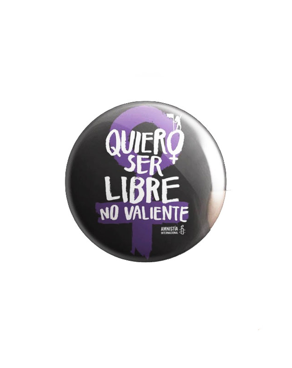 Chapa feminista Amnistía Internacional. Chapa feminista negra
