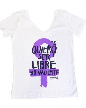 Camiseta feminista cuello pico Amnistía Internacional contra la violencia de género