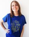 Camiseta ecológica con mensaje para unisex Amnistía Internacional color azul