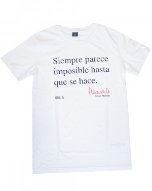Camiseta ecológica hombre Mandela Amnistía Internacional color blanco