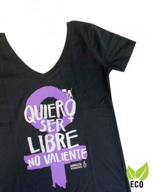 Camiseta ecológica feminista para mujer Amnistía Internacional Quiero ser libre color negro