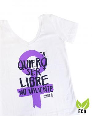 Camiseta ecológica feminista para mujer Amnistía Internacional Quiero ser libre
