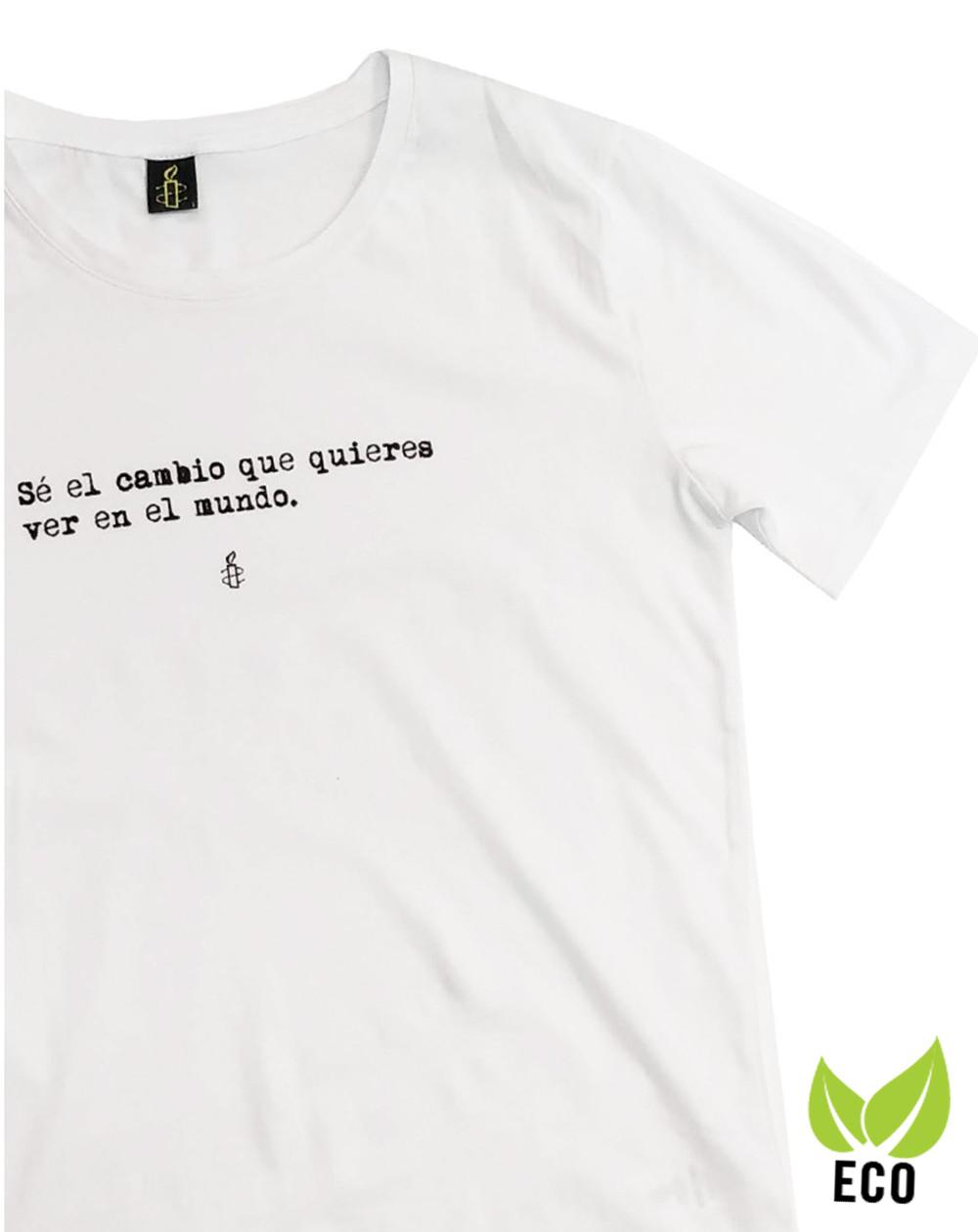 Camiseta hombre 100% algodón orgánico color blanco Amnistía Internacional con mensaje