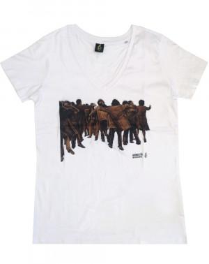 Camiseta mujer Juan Genovés Amnistía Internacional blanca ecológica