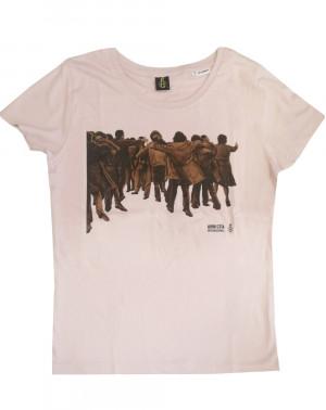 Camiseta mujer Juan Genovés Amnistía Internacional rosa ecológica