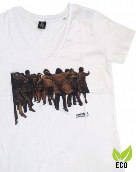 Camiseta mujer Juan Genovés Amnistía Internacional blanca