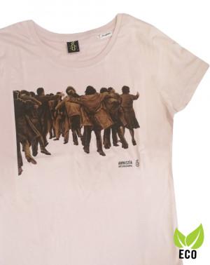Camiseta mujer Juan Genovés Amnistía Internacional rosa
