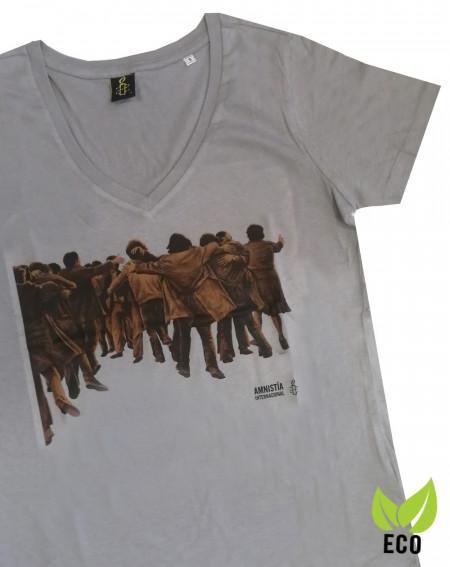 Camiseta mujer Juan Genovés Amnistía Internacional gris