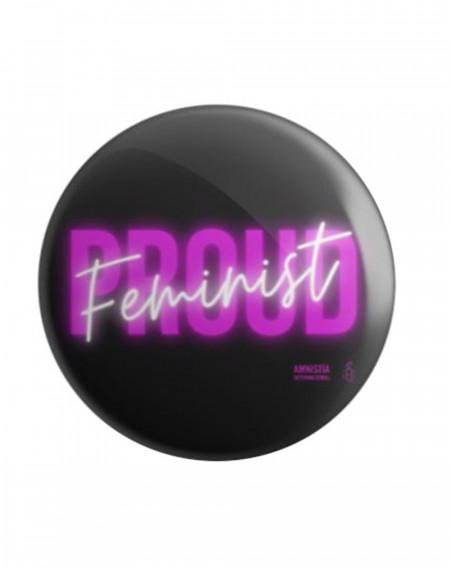 Chapa feminista Proud feminist negra Amnistía Internacional