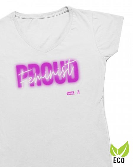 Camiseta cuello pico 8 de marzo Proud feminist Amnistía Internacional