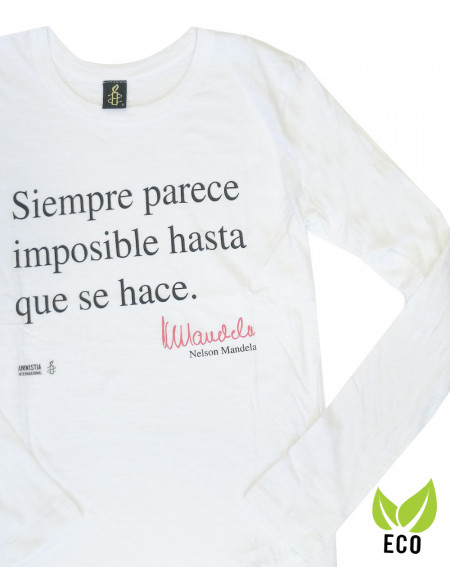 Camiseta solidaria mujer manga larga Mandela Amnistía Internacional