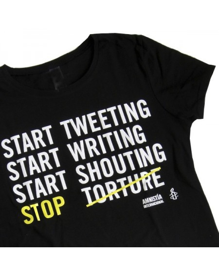 Camiseta stop tortura entallada